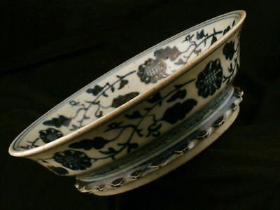8.0 Inches Huge Fine Chinese Ming Dy Blue & White Porcelain *Phoenix* Bowl