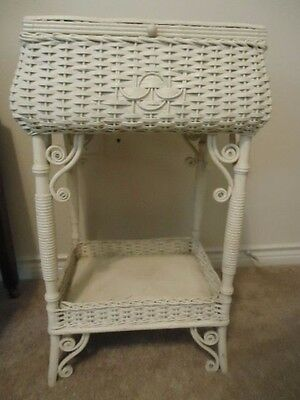 Antique Wicker Sewing Stand Basket painted white. I believe Heywood-Wakefield