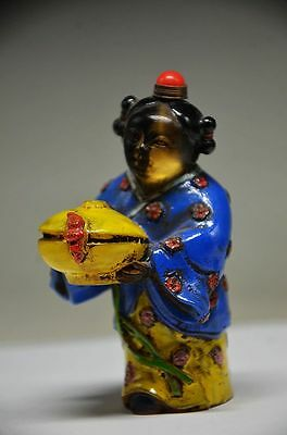 Collectible Chinese Coloured Glaze Hand Carved Lifelike People Snuff Bottle