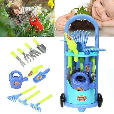 Childrens Kids Gardening Planting Trolley Toy Set With Tools Outdoor Garden Game