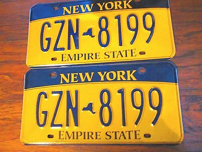 """Vintage Pair Of New York State License Plates """"gzn 8199"""" Gold/black"""