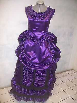 PURPLE blk LACE steampunk VICTORIAN bustle  DRESS sz 10