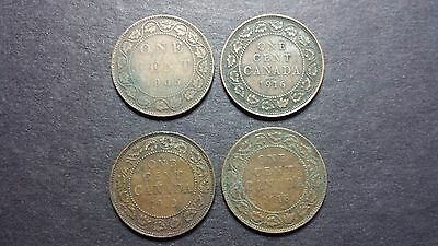 Canada Large Cent Coin Lot - 4 Coins - 1905, 1913, 1916, 1918
