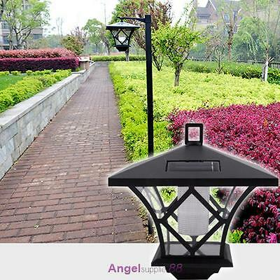 Black LED Solar Powered 5 ft Traditional Garden Lamp Post Lamppost Lantern