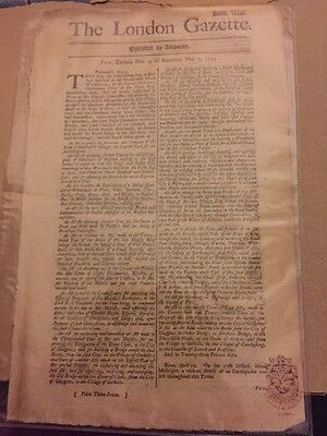Antique newspaper - London Gazette - 1774 - 4 full pages!!