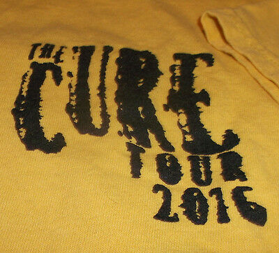 THE CURE Shirt L Large Local Crew Tour 2016 Yellow Lighting Concert