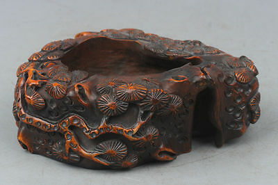 China Exquisite Hand-carved landscape carving Wooden pen wash