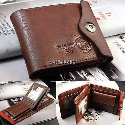 NEW Men's Leather Brown Bifold Wallet Credit/ID Card Holder Slim Coin Purse hot