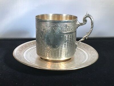 Antique French  Silver Tea Cup & Saucer Set made by Victor Lenuet