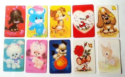 10 Vintage Swap Cards - Cute Animals - Blank Back
