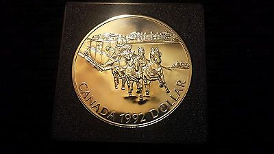 1992 Canada One Dollar Uncirculated Silver Coin - Kingston To York Stagecoach