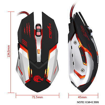 6Button Wired LED Light Up Gaming Mouse 5500 DPI For Laptop Or PC Mice