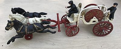 Antique Cast Iron Horse Drawn FIRE WAGON with Galloping Horses * Fire Truck