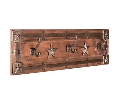 Rustic Brown Western Star Coat Rack Country Charm Home Decor Western NEW