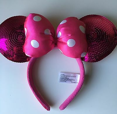 Disney Parks Official Disneyland Minnie Mickey Mouse Pink Sequin Headband Ears