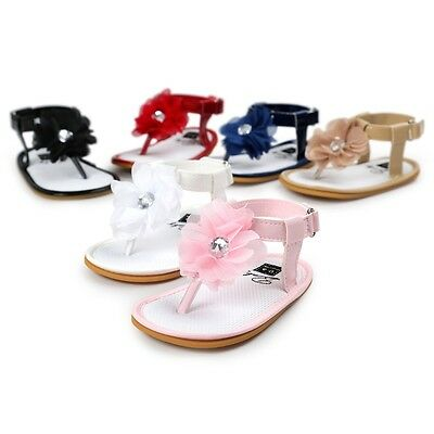 Baby Girl Summer Soft Sole Shoes Flower Sandals Toddler Infant Prewalkers 0-18M