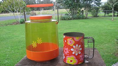 Vintage Retro Nally Biscuitbarrel And Kande Flour  Sifter
