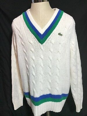 Vintage 80s Lacoste Tennis Sweater Mens M Deadstock Stripes Cable Knit Izod