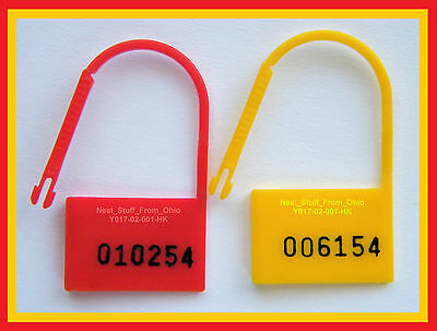 SECURITY SEALS, EASY-REMOVAL, PADLOCK-STYLE, 100-SEALS, RED or YELLOW