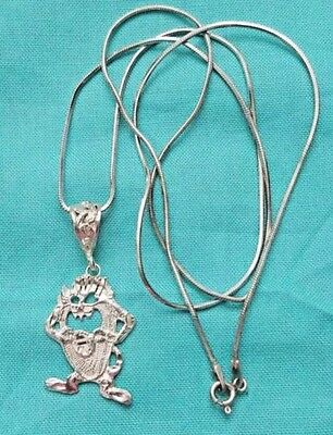 "Vintage Sterling Silver 24"" Necklace & Tazmanian Devil Pendant, Estate Jewelry"