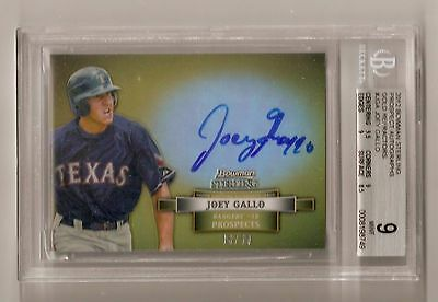 2012 Bowman Sterling Joey Gallo Autograph Gold Refractor RC /50 BGS 9 Auto 10