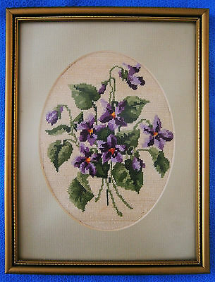 "Vintage Hand Made Work of Needle Art ""Violets"" in Petite Point Half Cross Stitch"