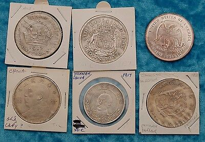 Collection of mixed world crown size coins, copies x6
