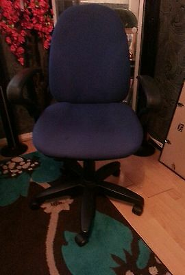 Dark Blue Ex Office Computer Desk Swivel Chair