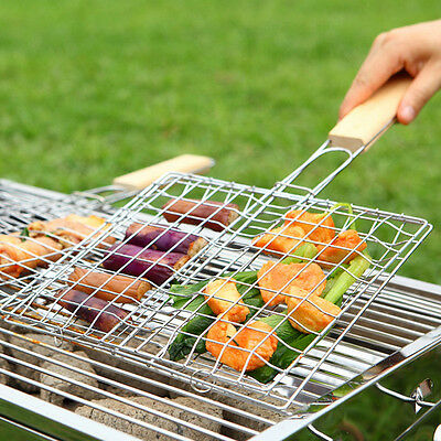 New BBQ Barbecue Meat Fish Burger Handle Holder Grill Rack Basket Folding Stand
