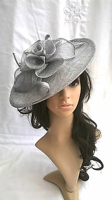 NEW SILVER GREY METALLIC SINAMAY FASCINATOR HAT.Shaped saucer disc,Wedding.races