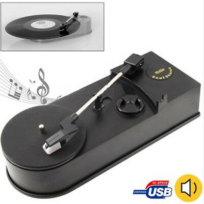 USB Turntable Record Music Player 33 RPM Vinyl LP to MP3 WAV Fast Converter