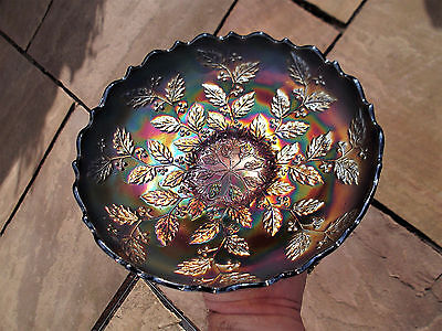 Fenton Holly Carnival Glass I.c.s Bowl ~ Beautiful Blue ~ Great Colour ~