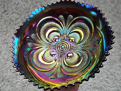 Imperial scroll embossed Carnival glass bowl ~ purple ~ stunning ~