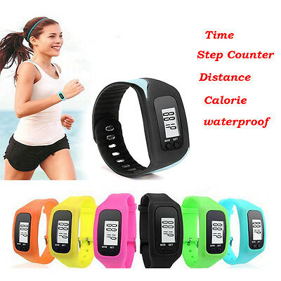 New 1PC LCD Pedometer Calorie Counter Run Step Walking Distance Watch Bracelet