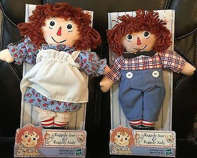 "HASBRO 2000 Raggedy Ann & Andy Dolls 12"" NEW OLD STOCK IN PACKAGES NEVER OPENED"