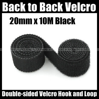 20mmx10M BTB (Black) Hook & Loop Strapping Tape Fastener Self Gripping Straps