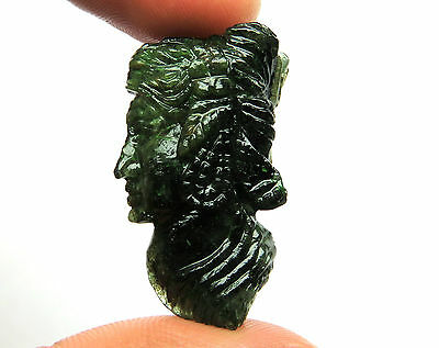38.7 Cts Natural Zambian Emerald Carved Face Hand Crafted Carving 31 x 17 x 9 mm