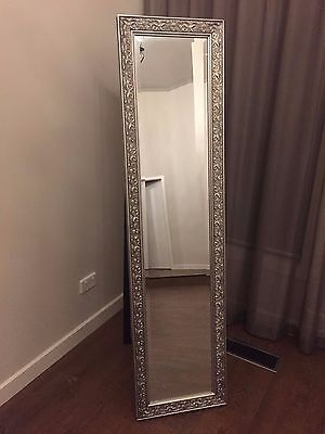 Free Standing Provincial Cheval Mirror Silver 160Cm