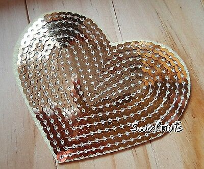 GOLD Sequin Embroidered Iron on Transfer Love Heart Patch Applique Motif Badge