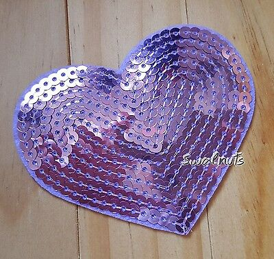 PURPLE Sequin Embroidered Iron on Transfer Love Heart Patch Applique Motif