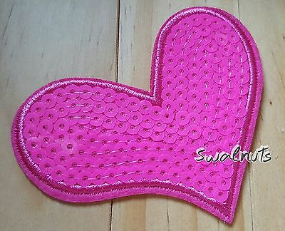 PINK Sequin Embroidered Iron on Transfer Love Heart Patch Applique Motif Badge