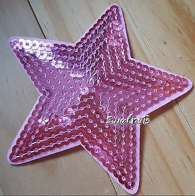 PINK Iron on Transfer Sequin Embroidered Star Patch Applique Motif Badge