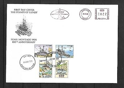 GB -  LUNDY -  1st Day Cover - HMS MONTAGU - 100th Anniversary