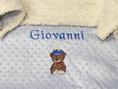 Personalised Baby Blanket - Embroidered - BLUE OR IVORY - Luxurious Quality