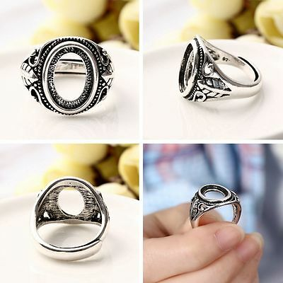 Jewelry Base Hollow Rings Antique Silver Blanks Set Inlaid Beeswax Amber