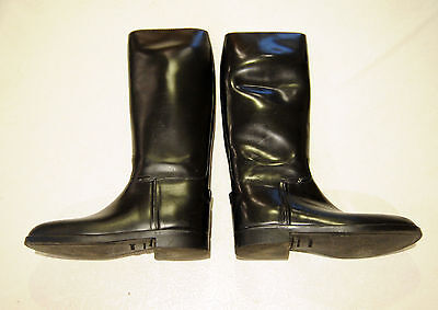 AIGLE Black Riding Equestrian Rubber tall dress Boots Made in FRANCE 43