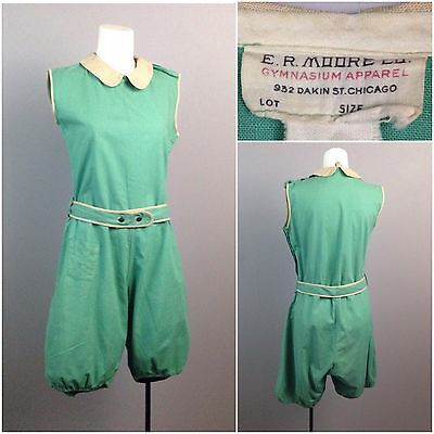 Vintage 1920s 1930s Green Sleeveless Cotton Athletic Gym Suit Romper M