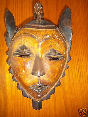 Antique Tribal Face Mask of African Art Wall Sculpture Unique Collectible Kenya