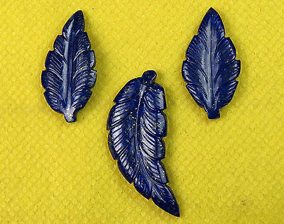 42.4 Cts Natural Lapis Lazuli Carved Leaf Hand Crafted 3 Pcs Set Leaves Carving