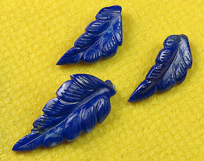 17.2 Cts Natural Lapis Lazuli Carved Leaf Hand Crafted 3 Pcs Set Leaves Carving